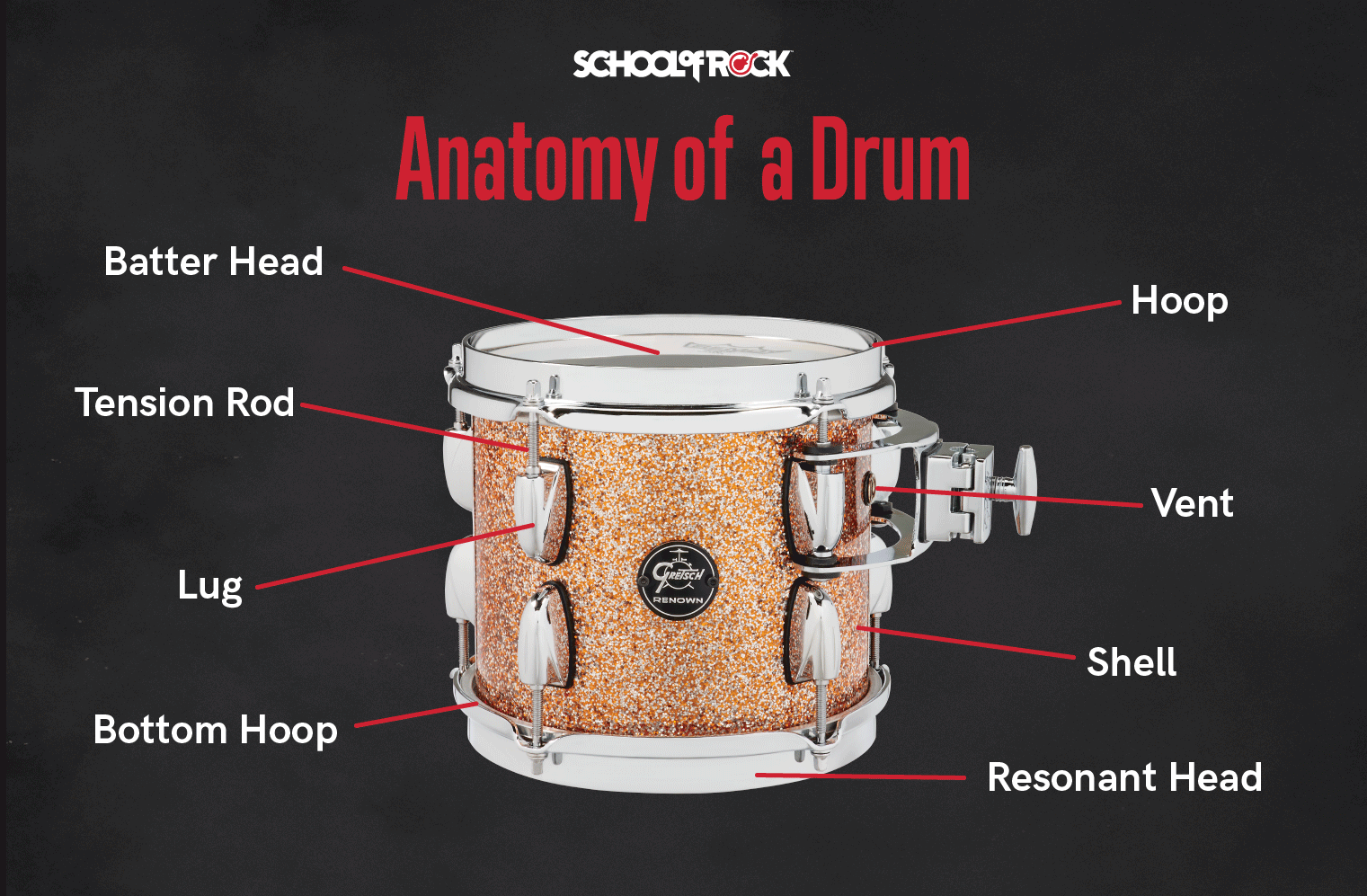 Parts of drum anatomy include the batter and resonant heads, hoops, tension rod, lug, vent and shell.