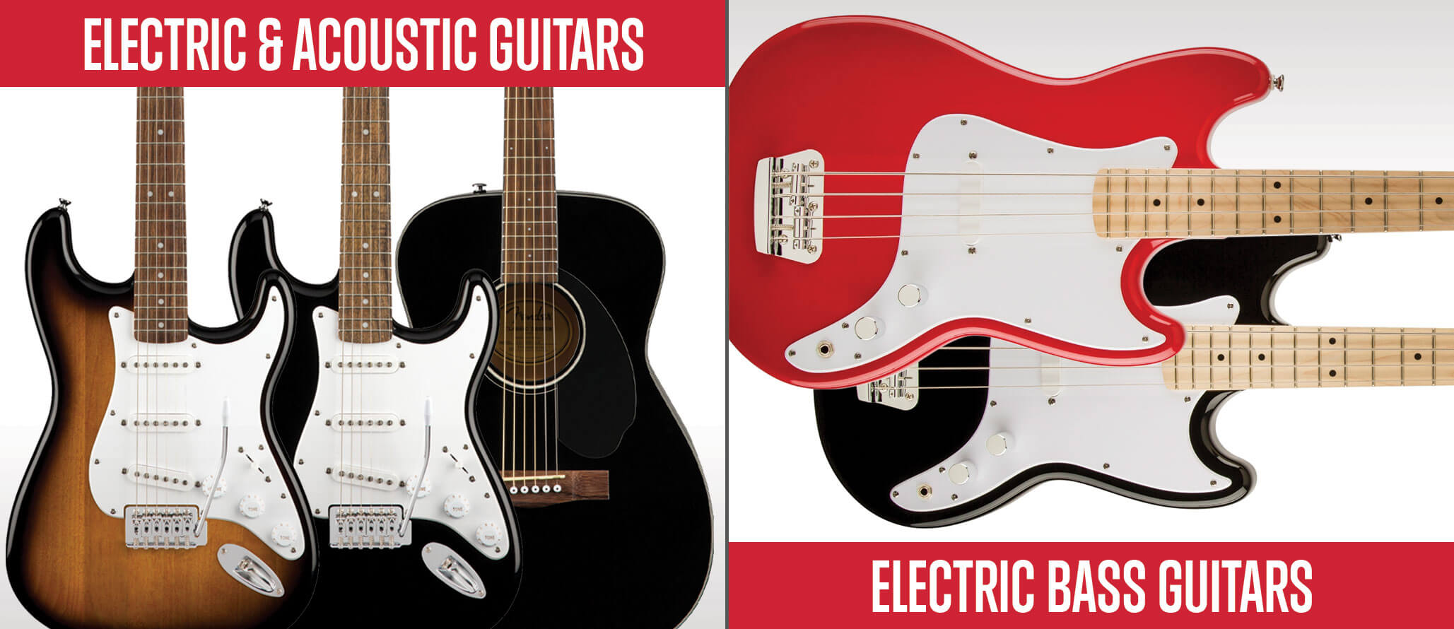 School of Rock sells electric guitars, acoustic guitars and bass guitars