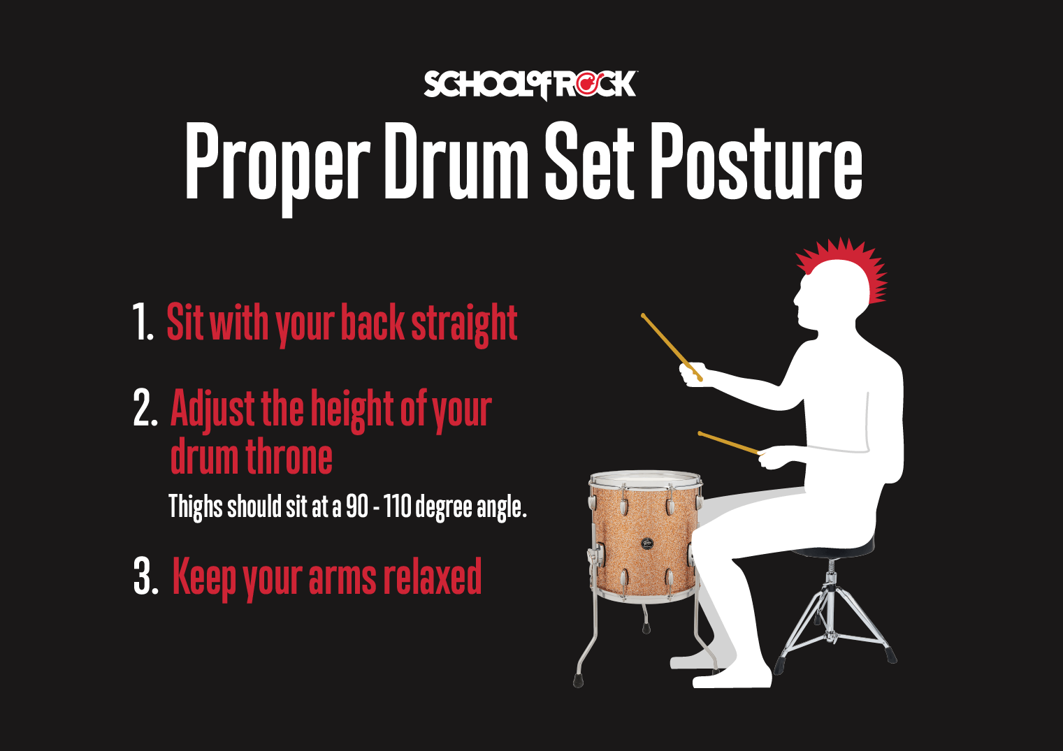 Proper drum set posture and drum throne height