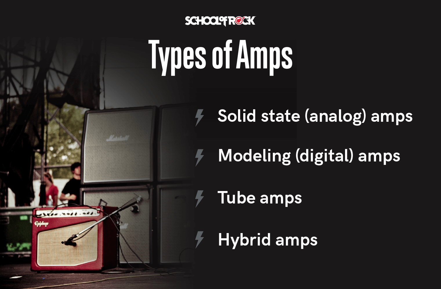types of guitar amps include solid state, modeling, tube and hybrid.