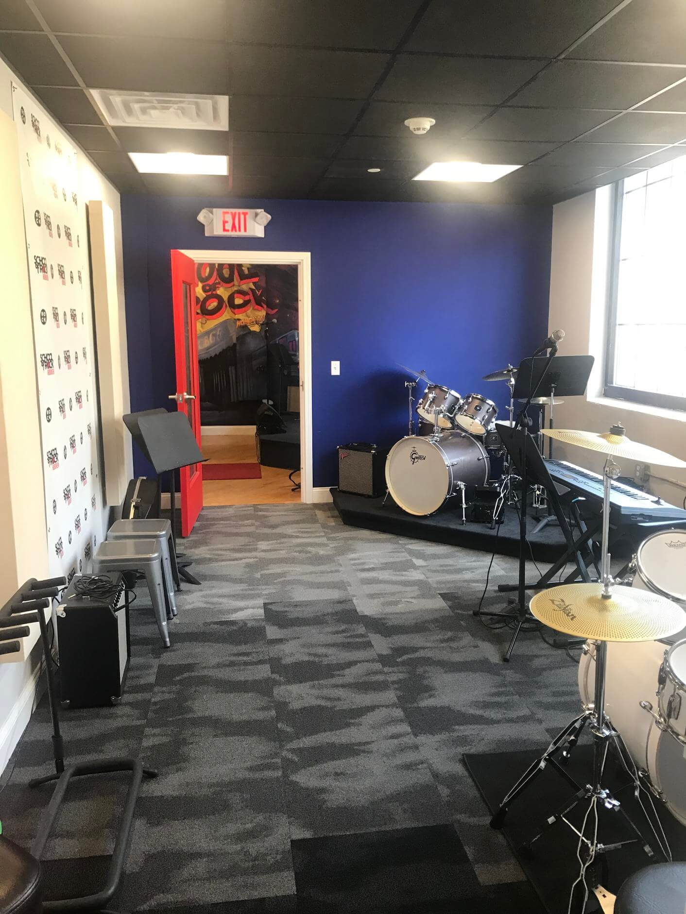 Our second rehearsal room/drum room.