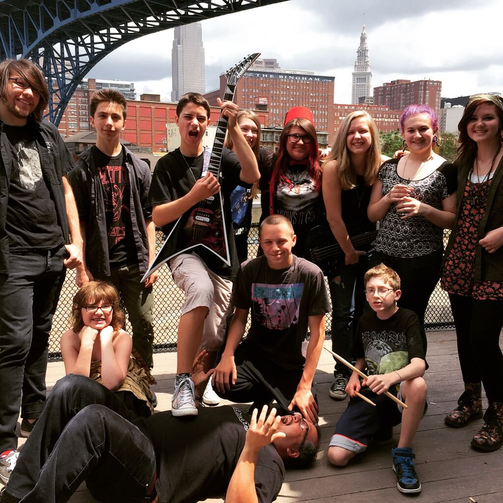 The Warped Tour group on the deck of the Music Box Supper Club.