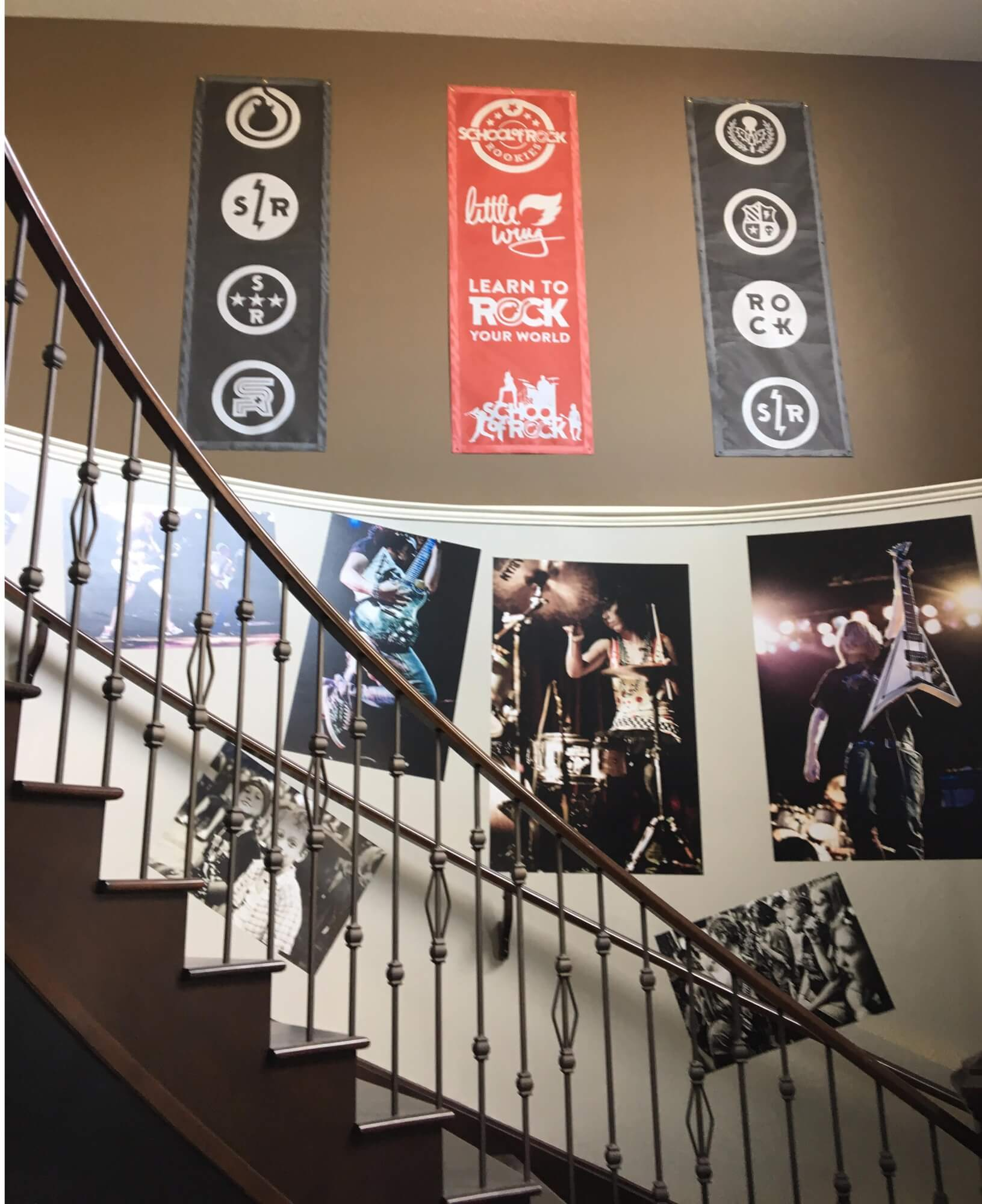 Great imagery at the School of Rock Calgary South overlooking our reception area.