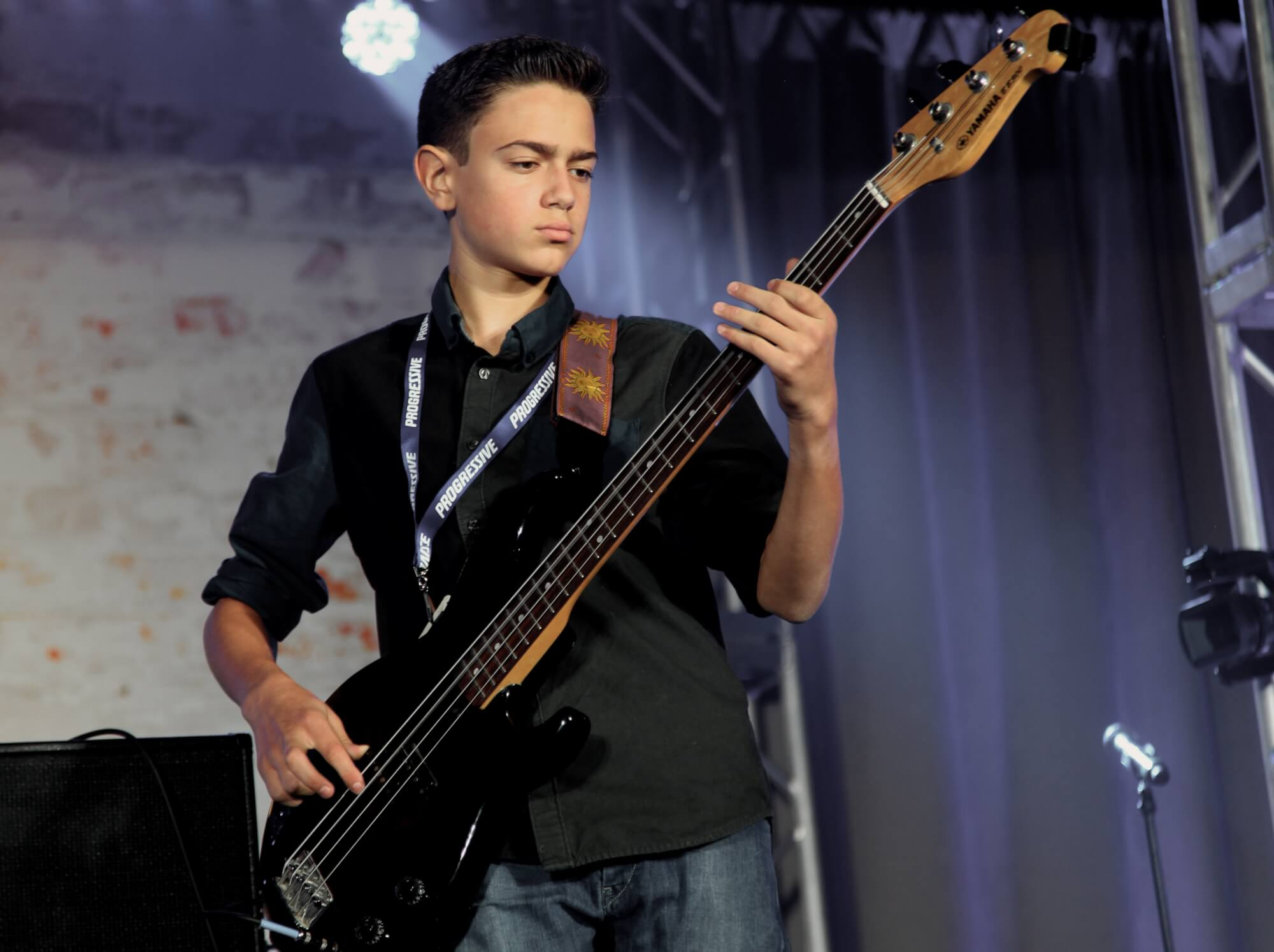 One of our students plays the bass.