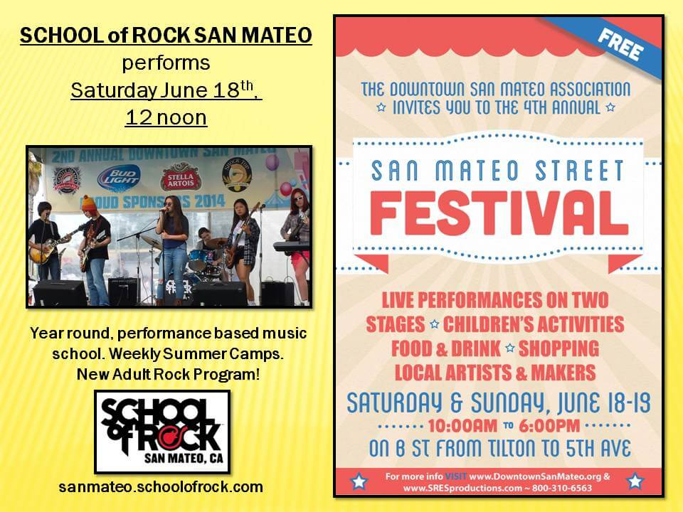 School of Rock San Mateo Performance Students play the San Mateo Street Festival Community Stage.