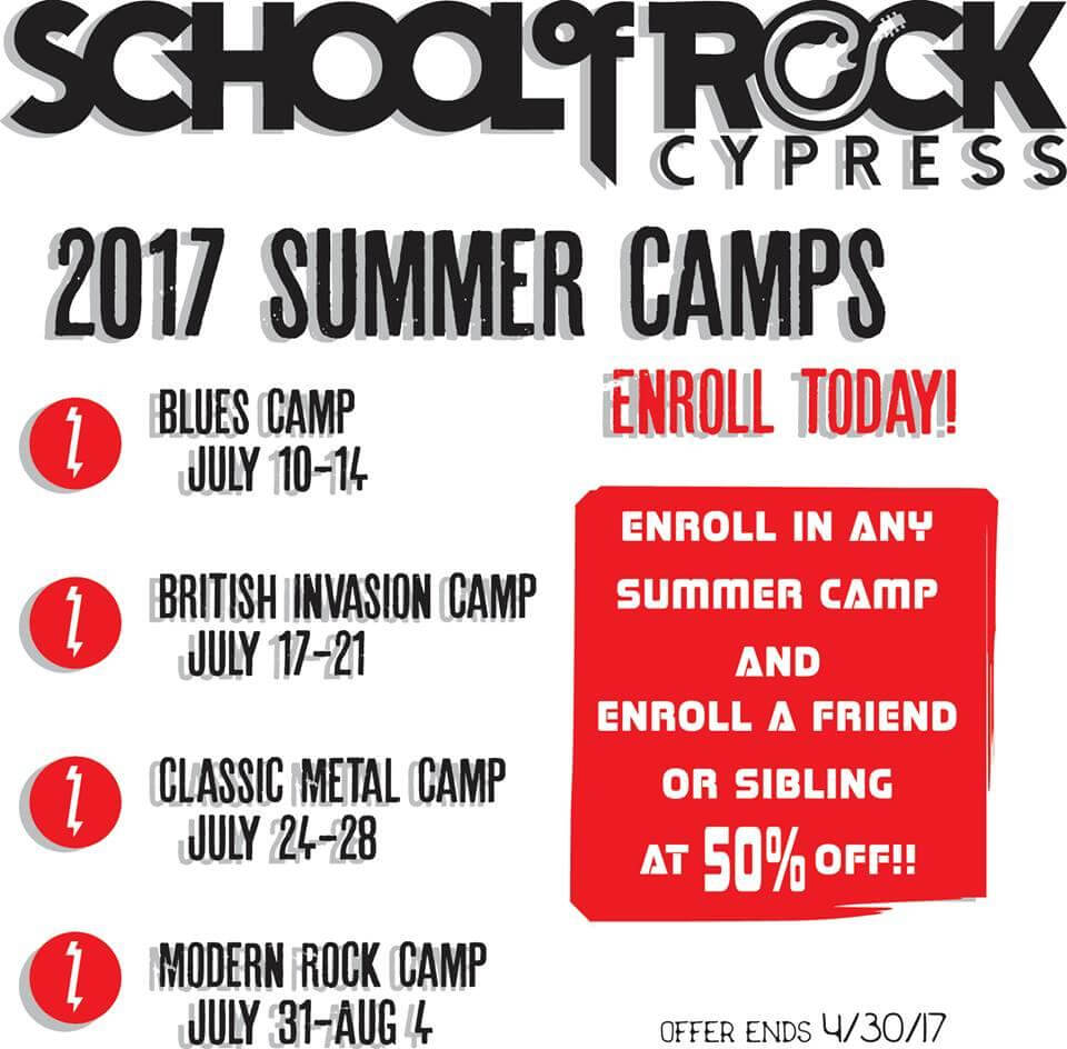 School of Rock Cypress 2017 summer camp special!