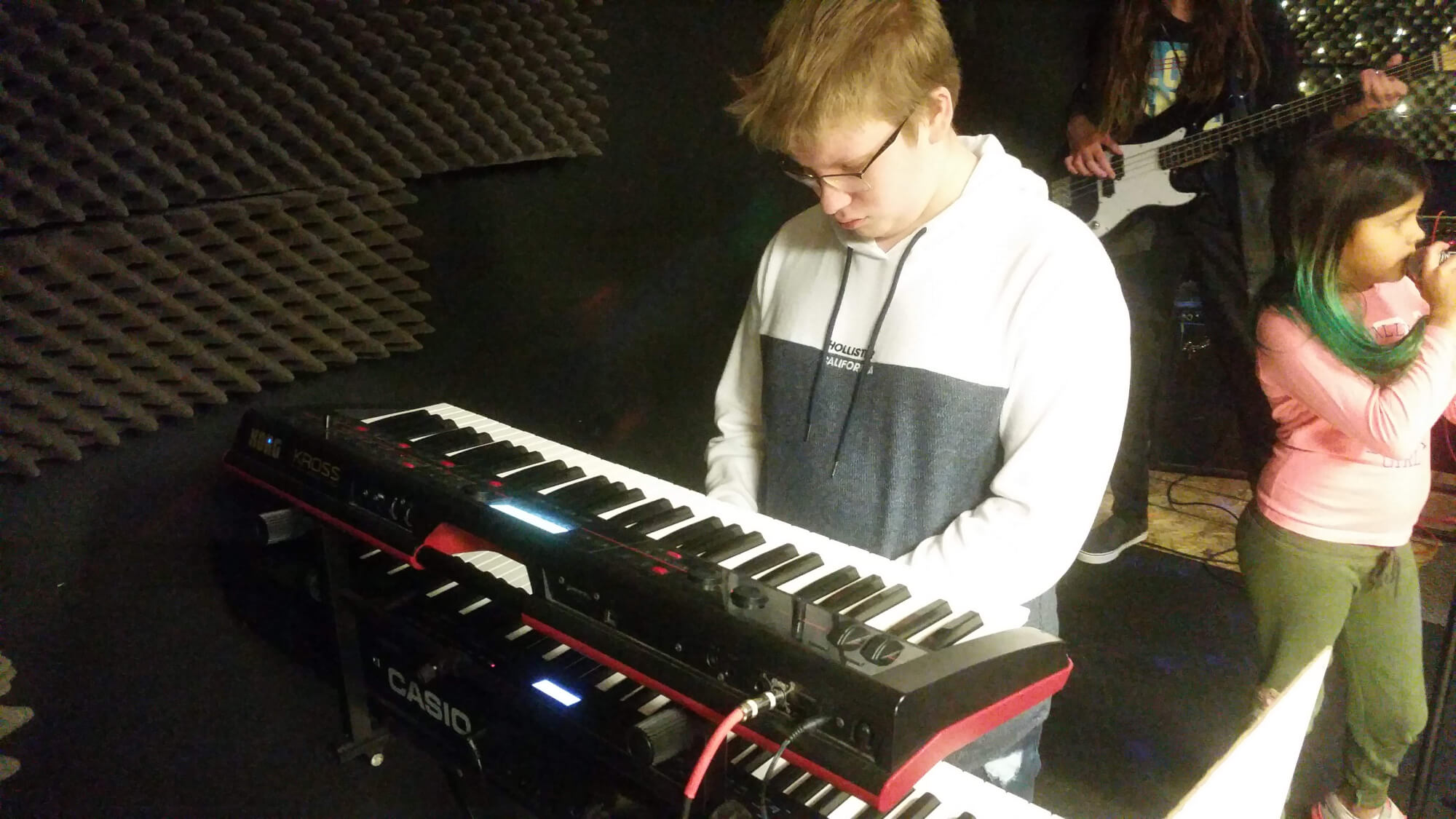 One of our students mastering the keys during rehearsal.