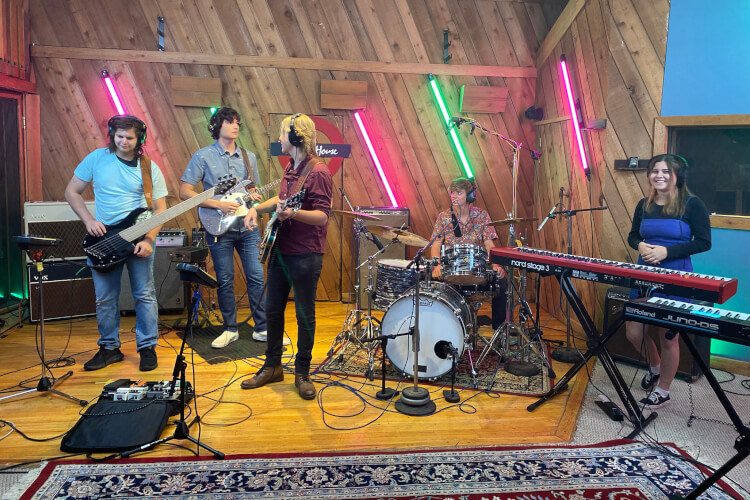 School of Rock 2021 AllStars students perform songs at Carriage House Studios in Stamford