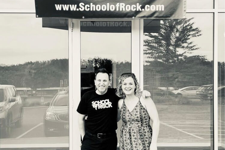 School of Rock Plymouth Owner Jora Bart and School of Rock CEO Rob Price
