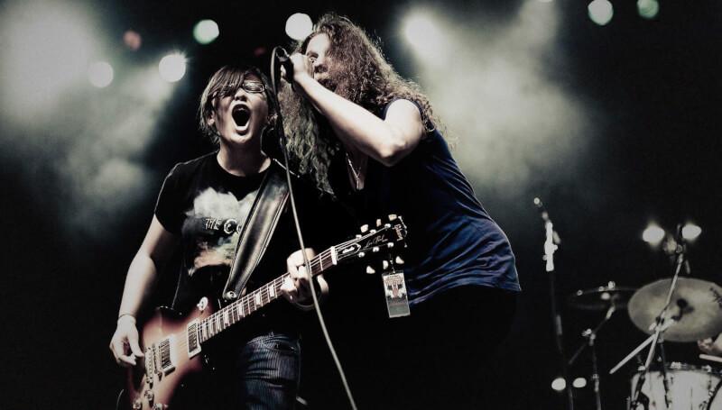 Students performing a rock concert