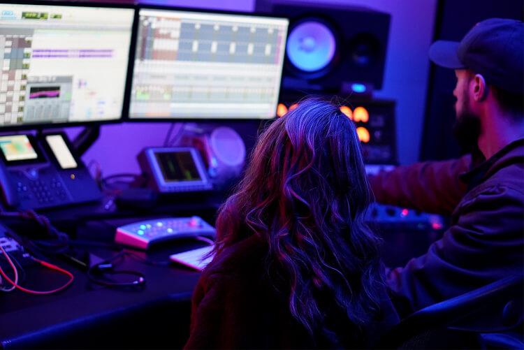 school of rock student in a recording studio